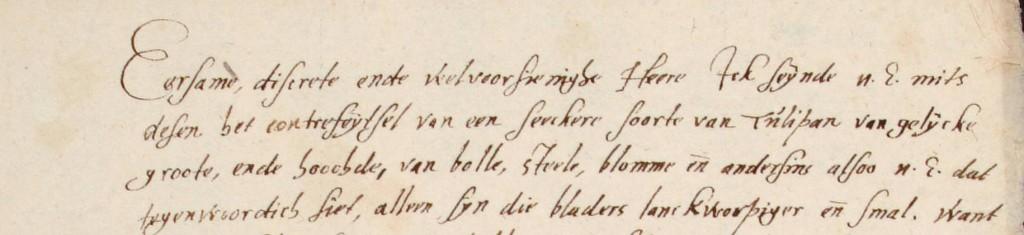 Tulpengekte - Johannes de Jonghe aan Clusius, 1596-05-14, Vul. 101 UBL